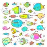 Cartoon Bizarre Fish Collection for Kids Hand Stock Photos