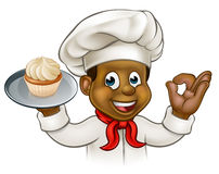 Cartoon Black Baker or Pastry Chef Stock Photography
