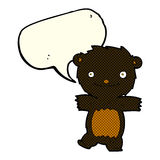 cartoon black bear cub with speech bubble Royalty Free Stock Images