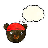 Cartoon black bear face with thought bubble Stock Photo