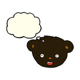 Cartoon black bear face with thought bubble Royalty Free Stock Image