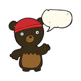Cartoon black bear wearing hat with speech bubble Royalty Free Stock Photography