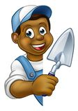 Builder Bricklayer Construction Worker Trowel Tool. A cartoon black builder or bricklayer construction worker holding a masons brick laying trowel hand tool Stock Photos