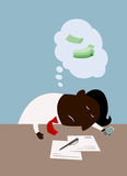 Cartoon black businessman dreaming about money Stock Images