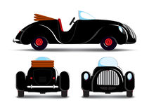 Cartoon black car. Cartoon black cabriolet car with red rims Stock Photography