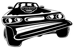 Cartoon black car. Royalty Free Stock Images