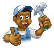 Cartoon Black Carpenter Character Stock Photo