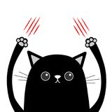 Cartoon black cat claw scratching. Red bloody scratch. Funny face head. Eyes, nose, paw print hand up. Cute character. White backg. Round. Isolated. Flat design Royalty Free Stock Photography