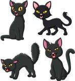 Cartoon black cat collection set Stock Illustration