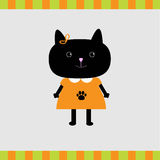 Cartoon black cat girl card Stock Photo