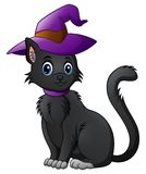 Cartoon black cat in a halloween hat. Illustration of Cartoon black cat in a halloween hat Stock Images