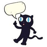 Cartoon black  cat with idea with speech bubble Stock Photo