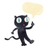 Cartoon black  cat with idea with speech bubble Royalty Free Stock Photo