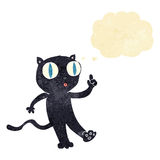 Cartoon black  cat with idea with thought bubble Royalty Free Stock Photo