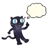 Cartoon black  cat with idea with thought bubble Royalty Free Stock Images