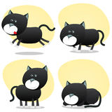 Cartoon Black Cat Set. Illustration of a cartoon cute tiny domestic black cat in various situations, running, hunting, sleeping and standing happy Stock Images