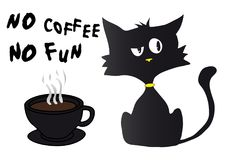 Cartoon black cat silhouette in bad mood with yellow nose and collar, cup of coffee. And text no coffe no fun Stock Photography