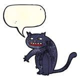 Cartoon black cat with speech bubble Stock Photography
