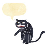 Cartoon black cat with speech bubble Stock Photos