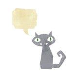 Cartoon black cat with speech bubble Royalty Free Stock Photography
