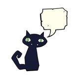 Cartoon black cat with speech bubble Royalty Free Stock Photo