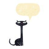 Cartoon black cat with speech bubble Stock Image