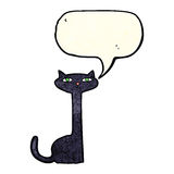 Cartoon black cat with speech bubble Royalty Free Stock Images