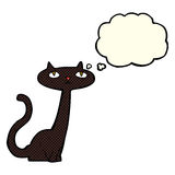 Cartoon black cat with thought bubble Stock Photos
