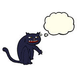 Cartoon black cat with thought bubble Royalty Free Stock Photography