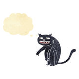 Cartoon black cat with thought bubble Stock Image