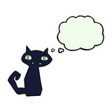 Cartoon black cat with thought bubble Royalty Free Stock Photo