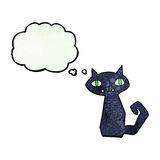 Cartoon black cat with thought bubble Royalty Free Stock Images