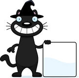 Cartoon Black Cat Witch Sign Stock Photo