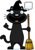Cartoon Black Cat Witch Talking Stock Photo