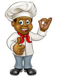 Cartoon Black Chef Cook. Cartoon black chef or baker character giving thumbs up and perfect delicious cook gesture stock illustration