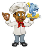 Cartoon Black Chef Fish and Chips Stock Image