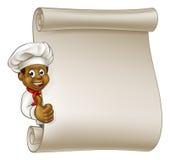 Cartoon Black Chef Menu Scroll Royalty Free Stock Photography