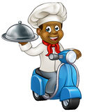 Cartoon Black Delivery Moped Scooter Chef. Cartoon black chef or baker character riding a moped motorbike scooter and delivering a silver cloche food meal plate Royalty Free Stock Photography