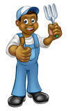 Cartoon Black Gardener Royalty Free Stock Photo