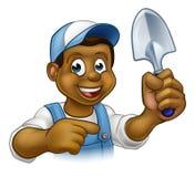 Cartoon Black Gardener Mascot Royalty Free Stock Photography