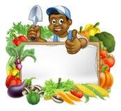Cartoon Black Gardener Sign Royalty Free Stock Photos