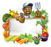 Cartoon Black Gardener Vegetables Sign Stock Image