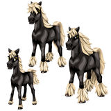 Cartoon black horses with blonde mane. Vector Stock Image