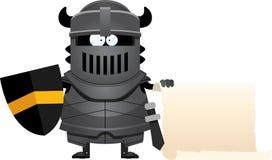 Cartoon Black Knight Sign stock illustration