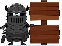 Cartoon Black Knight Sign Royalty Free Stock Image