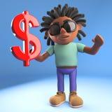 Cartoon black man with dreadlocks holding a red US dollar currency symbol, 3d illustration. Render royalty free illustration