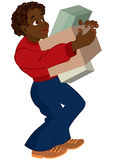 Cartoon black man in red sweater holding boxes Royalty Free Stock Photo