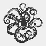 Cartoon black octopus with curved arms and suction cups on it, feeding tentacle. Spineless squid or underwater Royalty Free Stock Images