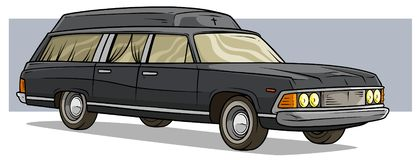 Cartoon black old long classic funeral hearse car stock illustration