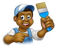 Cartoon Black Painter Decorator Stock Image